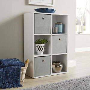 Storage Cube Shelves Bookcase Wooden Display Unit Organiser with Fabric Drawers