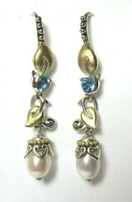 BIXBY 925 Sterling Silver / 18K Gold Earrings w Topaz and Pearls 6.2 grams