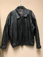 Members Only Men's Black Leather Lined Full Zip Motorcycle Bomber Jacket Size XL