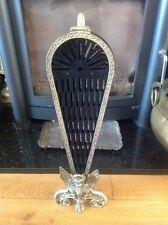 Vintage Ornate Brass Peacock Fan Folding Fireplace Screen Fire Guard