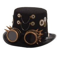 Vintage Gothic Gears Chains Steampunk Top Hat With Goggle Retro Punk Party Hat