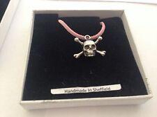 Skull & Crossbones SCKR Pewter Emblem ON A PINK CORD Necklace Handmade