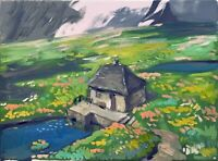 "Impressionist Landscape House Oil Painting 12""x16"" Original Signed on Canvas"