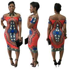 Dashiki Africano Stampa Etnica Vintage Bohemien tradizionale materiale elasticizzato aderente Vestito
