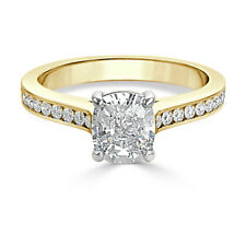 1.50 Ct Cushion Cut Bridal Diamond Wedding Ring 14K Solid Yellow Gold Size O P