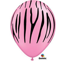 """24 NEON PINK with Black ZEBRA STRIPES Birthday Party 11"""" Latex Balloons"""