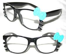 Women's Horn Rimmed Eye Glasses Hello Kitty blue Bow Black clear Lens Whiskers