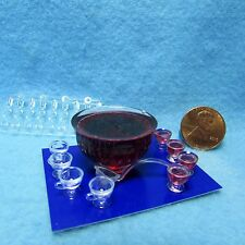 Dollhouse Miniature Chrysnbon Punch Bowl Set Filled ~ Cb121