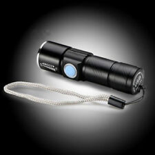 Rechargeable USB Ultra Bright LED Torch Light With Beam Focusing Zoom UK Stock Black
