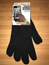Black Cotton Touch Screen Gloves, Large