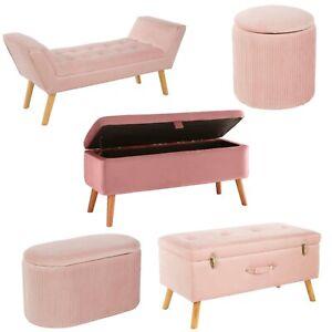 Upholstered Pink Fabric Ottoman Trunk Storage Box Pouffe Stool Footstool