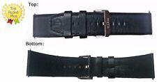 24mm PREMIUM Leather (Black) Designer Watch Strap Band + 2 Spring Bars