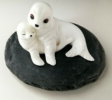 More details for royal osborne seal and her pup  bone china figurine tmr 5598