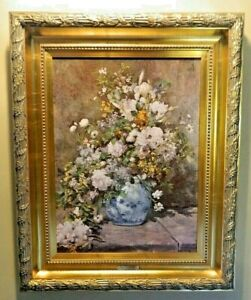 Framed Renoir Titled LARGE VASE OF FLOWERS By Denunzio Artist/Canvas Graded COA