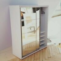 Dolls House 1/12 scale Wardrobe with sliding Mirror doors Made by BUSHBABY
