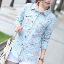 Women's Regular Floral Polyester Button Down Shirt Tops & Blouses