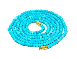 3-4MM Natural Turquoise Faceted Beads Beaded Necklace Strand Jewelry