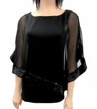 Women's Chic Fashion Top with built in Sheer Shawl and Sequins   Black