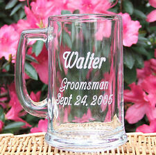 Groomsman Best Man Beer Mug - Personalized Engraved 15 oz. Glass - Wedding Gift