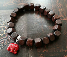 Red Coral Ganesh Walnut Wood Stretch Bracelet Protector Elephant Healing 7""