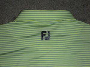 Men's NWOT FOOTJOY Golf Polo M LIGHT GREEN & GRAY Striped w/FJ Logo