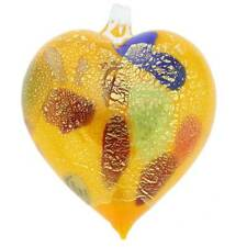 GlassOfVenice Murano Glass Heart Christmas Ornament - Yellow Gold