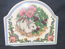 Mary Engelbreit Bunny Rabbit Garden Key Holder Organizer Plaque Ceramic Tile