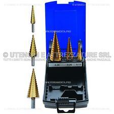 Set 3 frese coniche a gradino 4-30mm BGS Officina