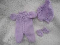 "Doll Clothes 3 pc  Lilac Romper Outfit fit Premie , Baby Middleton 12"" 13"""