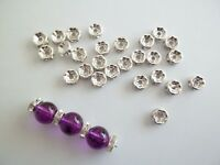 20 perles rondelles strass intercalaire Ø 8 mm argenté - bijou diy