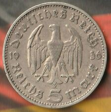 1936 J Germany 3rd Reich 5 Reichsmark- 90% Silver- Only 640,000 Minted- Beauty