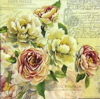 3 x Single Paper Napkins For Decoupage Vintage Aged Roses Flowers On Yellow M493