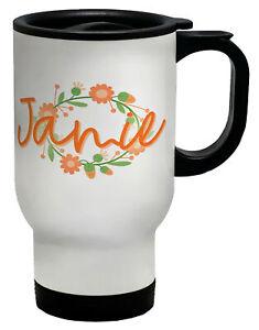 Personalised Name Flower Circle Orange Travel Mug Cup