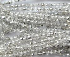 Vint Antique Silver Gold 5mm Rough English Cut Crystal Czech Glass Beads 150pcs