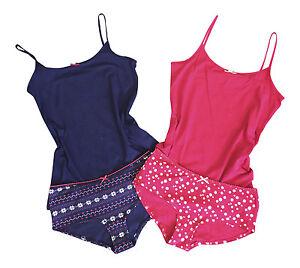 Ladies Navy / Red Cotton Pyjamas Night Wear Cami Vest Top and Knickers Set