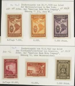 PARAGUAY 1939 Airmails, XF MH/* Collection , Flight,Aero,Aviation, Map, Flugpost