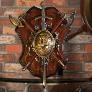 Shield Wall Vintage Metal And Decor Sword Coat Arms Cast 2 Swords Mid