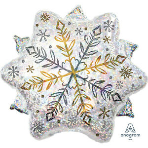 Christmas Winter Wonderland Sparkling Snowflake Shape Foil Balloon Decoration