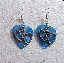 Blue Double Heart Charm Drop Hook Earrings