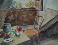 Louis Lallemand, watercolor. Interior, from an attic. c1940