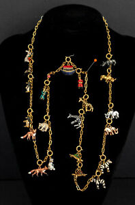 """RARE JOAN RIVERS SIGNED """"NOAH'S ARK"""" ENAMEL & CRYSTAL 21X CHARMS NECKLACE 1980's"""