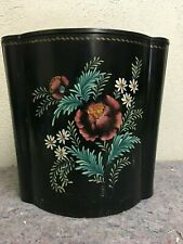 Vintage Waste Paper Trash Can With Hand Painted Floral Design-Signed