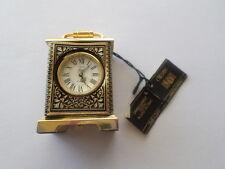 Vintage Credan Miniature Mini Clock 24k Gold Color Damasquinado Made In Spain