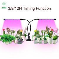 Plant Grow Light Dual Head LED Lights 3 Mode Timer 360 Degree Flexible Gooseneck