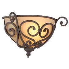 Contemporary Sconce Light Bronze Wall Lighting Fixture Glass Shade Sconces Pair