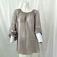 Prologue Womens Semi Sheer Long Sleeve Shimmer Blouse Size XL