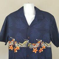 Mens Hawaiian Camp Shirt XL Biker Motorcycles 100% Cotton Short Sleeve (K)