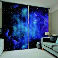 2 Panel Blue Sky Window Curtain Star Night Living Room Bedroom Drapes Curtains