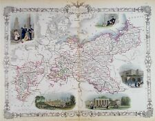OLD ANTIQUE MAP PRUSSIA by TALLIS / RAPKIN c1850's BERLIN VIEWS HAND COLOUR