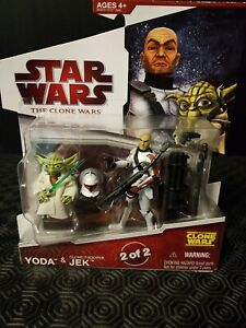 "Star Wars 3.75"" The Clone Wars Yoda & Clone Trooper Jek Action Figures Complete!"